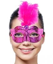 Oogmasker roze met roze veer