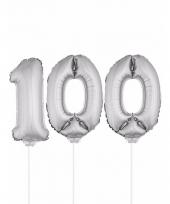 Opblaas cijfer 100 folie ballon 41 cm