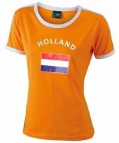 Oranje contrast-shirt met holland print