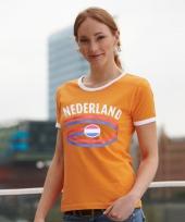 Oranje contrast-shirt met nederland print