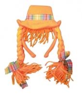 Oranje diadeemhoedje met vlechten