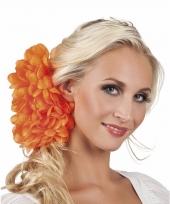 Oranje flamenco haarbloem 20 cm