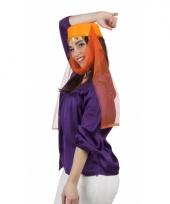 Oranje harem hoed met sluier