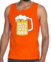 Oranje het is oranje en wil bier tanktop mouwloos shirt heren