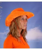 Oranje hoed met fluweel look