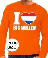 Oranje i love big willem grote maten sweater trui heren
