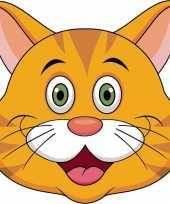 Oranje kat maskertjes voor kinderen
