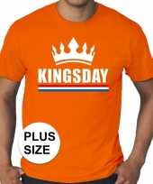 Oranje koningsdag kingsday met kroon grote maten shirt heren