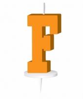 Oranje letter kaars f