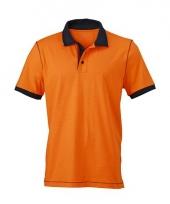 Oranje polo met comfortabele pasvorm