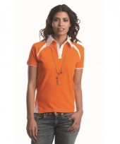 Oranje polo t-shirt voor dames