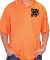 Oranje poloshirts met leeuw logo