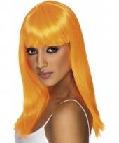 Oranje pruik met lang stijl haar