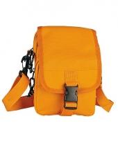 Oranje schoudertasje met klipsluiting 18 cm