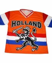 Oranje supporters shirt met zwarte leeuw en vlag 10047888