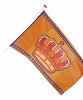 Oranje vlag met kroon 150 cm