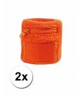 Oranje zweetbandje met rits 2 stuks