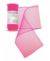 Organza rol neon roze 12 x 300 cm
