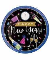 Oud en nieuw wegwerp borden zwart blauw happy new year 8 stuks