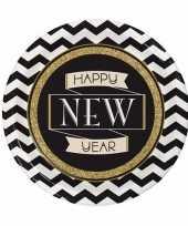 Oud en nieuw wegwerp borden zwart goud happy new year 8 stuks
