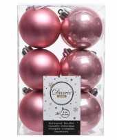 Oud roze kerstversiering kerstballen kunststof 6 cm