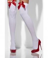 Overknee kousen wit met rode strik