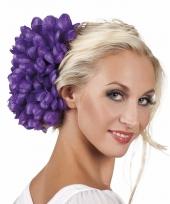 Paarse flamenco haarbloem 20 cm