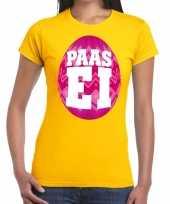 Paasei t-shirt geel met roze ei voor dames