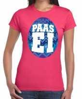 Paasei t-shirt roze met blauw ei voor dames