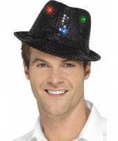 Pailletten hoedje zwart met led lichtjes