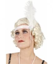 Pailletten hoofdband wit met veer