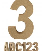 Papier mache cijfer 3 om te beschilderen