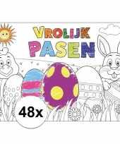 Papieren paas kleurplaat placemats 48 stuks