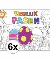 Papieren paas kleurplaat placemats 6 stuks