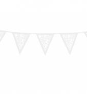Papieren rozen vlaggenlijn wit 3 meter