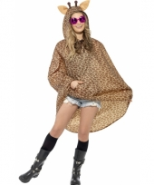 Party poncho met giraffe print