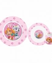 Paw patrol roze kinderservies 3 delig