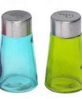 Peper en zout strooiers setje groen blauw