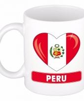 Peruaanse vlag hartje koffiemok 300 ml