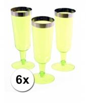 Picknick flutes groen 6 stuks