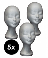 Piepschuimen paspop hoofden 5 stuks