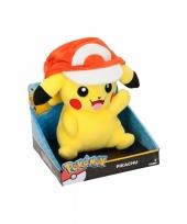 Pikachu met petje knuffel 25 cm