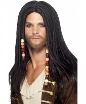 Piraat pruiken met dreads en kralen
