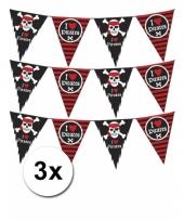 Piraten feest slingers 3 stuks van 6m