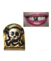 Piraten tand goud met doodshoofd