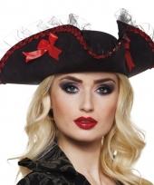 Piratenhoed zwart rood voor dames
