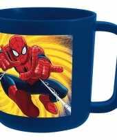 Plastic beker spiderman blauw