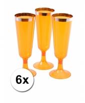 Plastic champagne glazen oranje 6 stuks