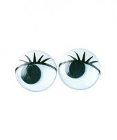 Plastic wiebel ogen met wimpers 15 mm