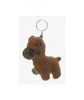 Pluche alpaca sleutelhanger bruin 12 cm